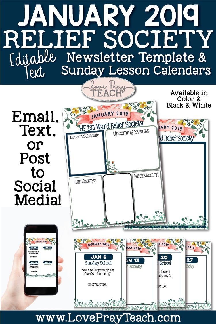 January 2019 Editable Newsletter Template And Relief Society