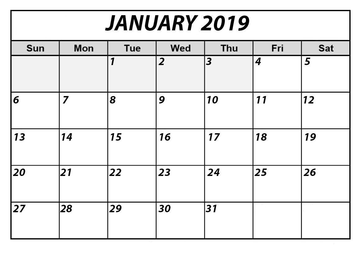 January 2019 Printable Calendar | Free Printable Calendar