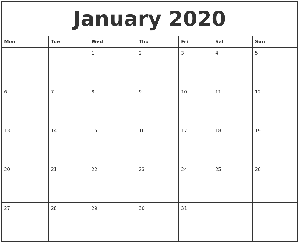 January 2020 Free Monthly Calendar Template
