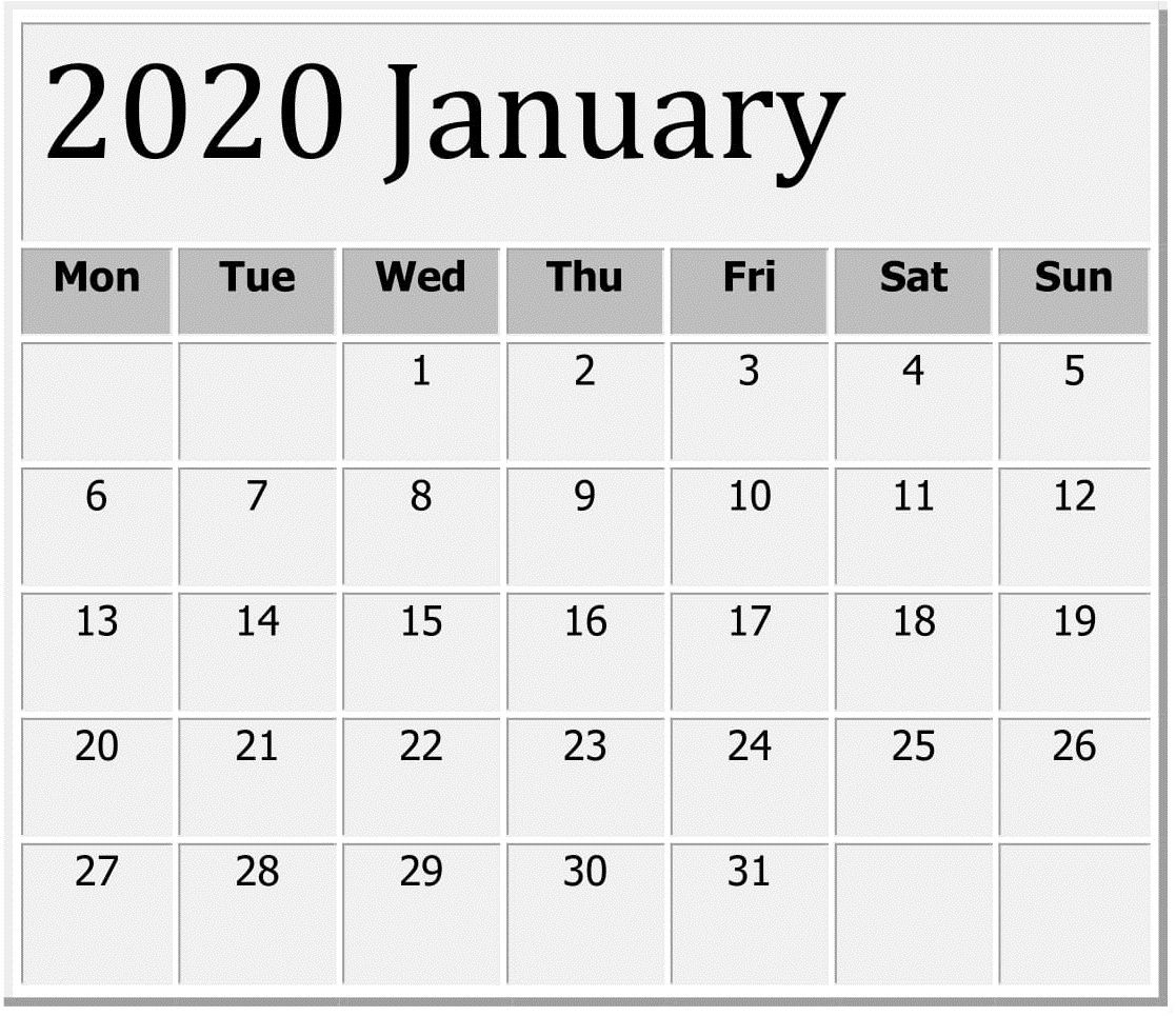 January 2020 Printable Calendar Large Print - Free Latest