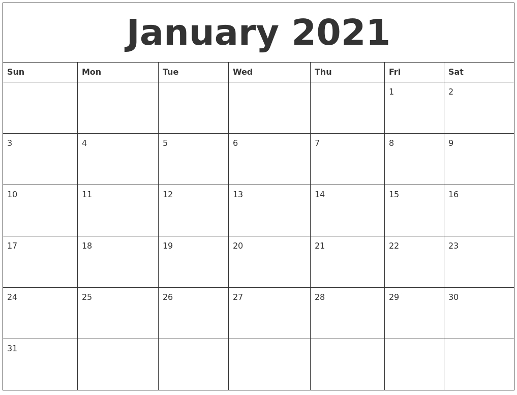 January 2021 Free Monthly Printable Calendar