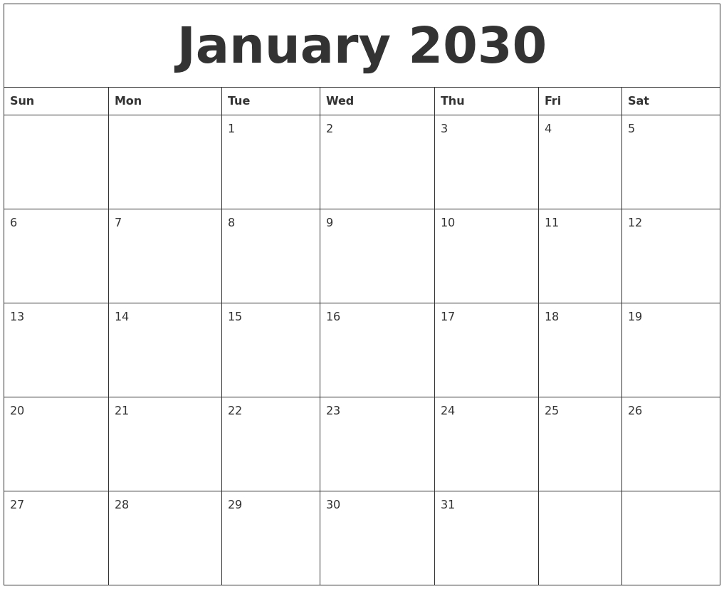 January 2030 Print Out Calendar