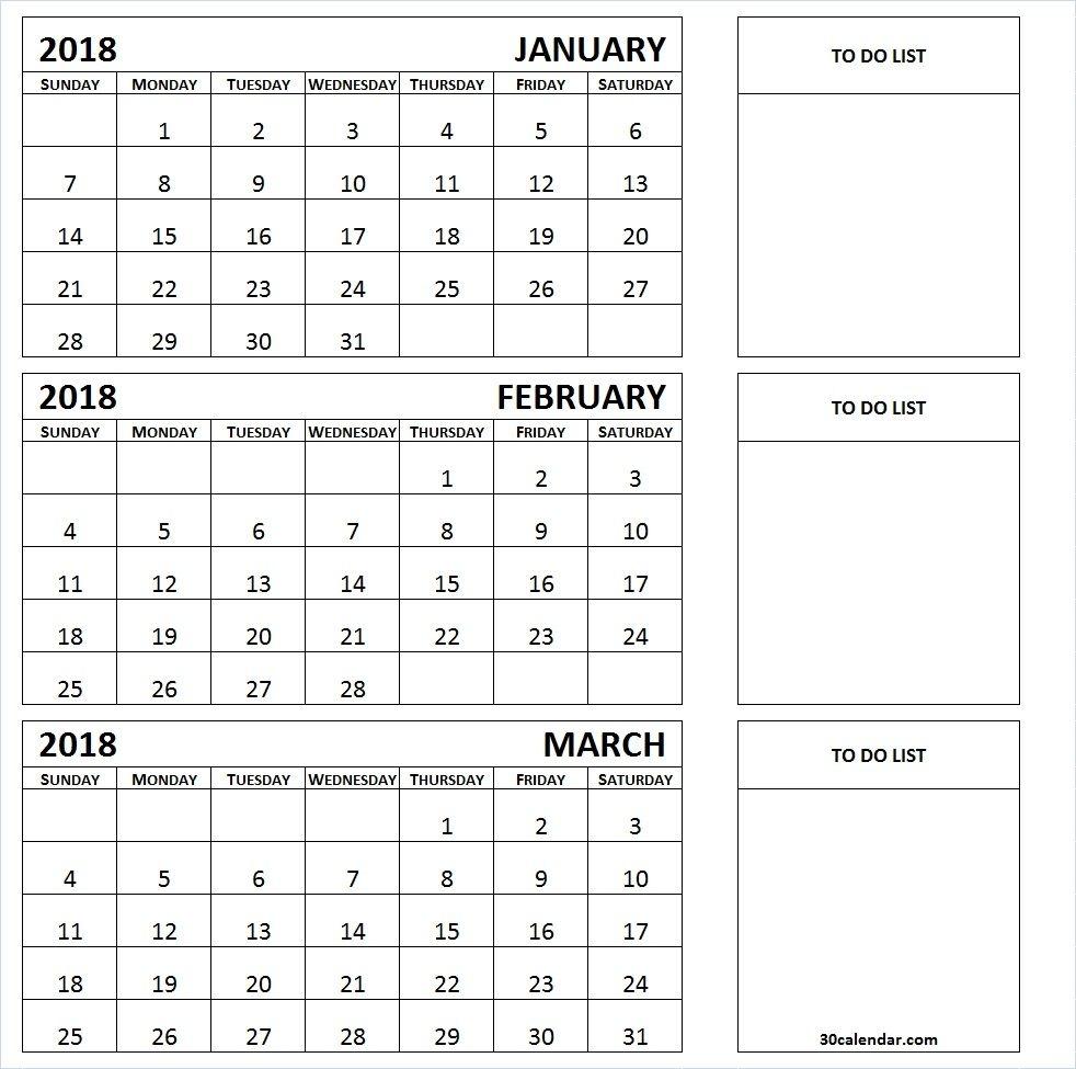 January To March 2018 Calendar Printable | 3 Month Calendar