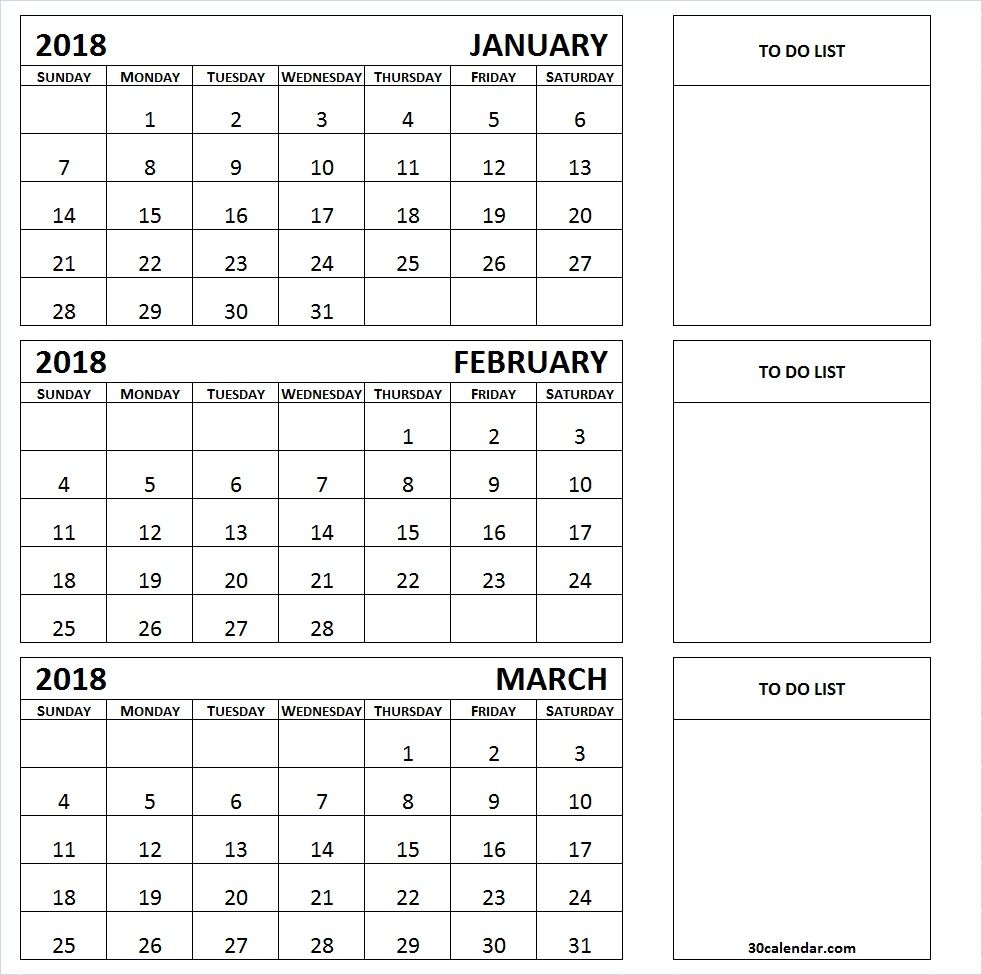 January To March 2018 Calendar Printable | 3 Month Calendar