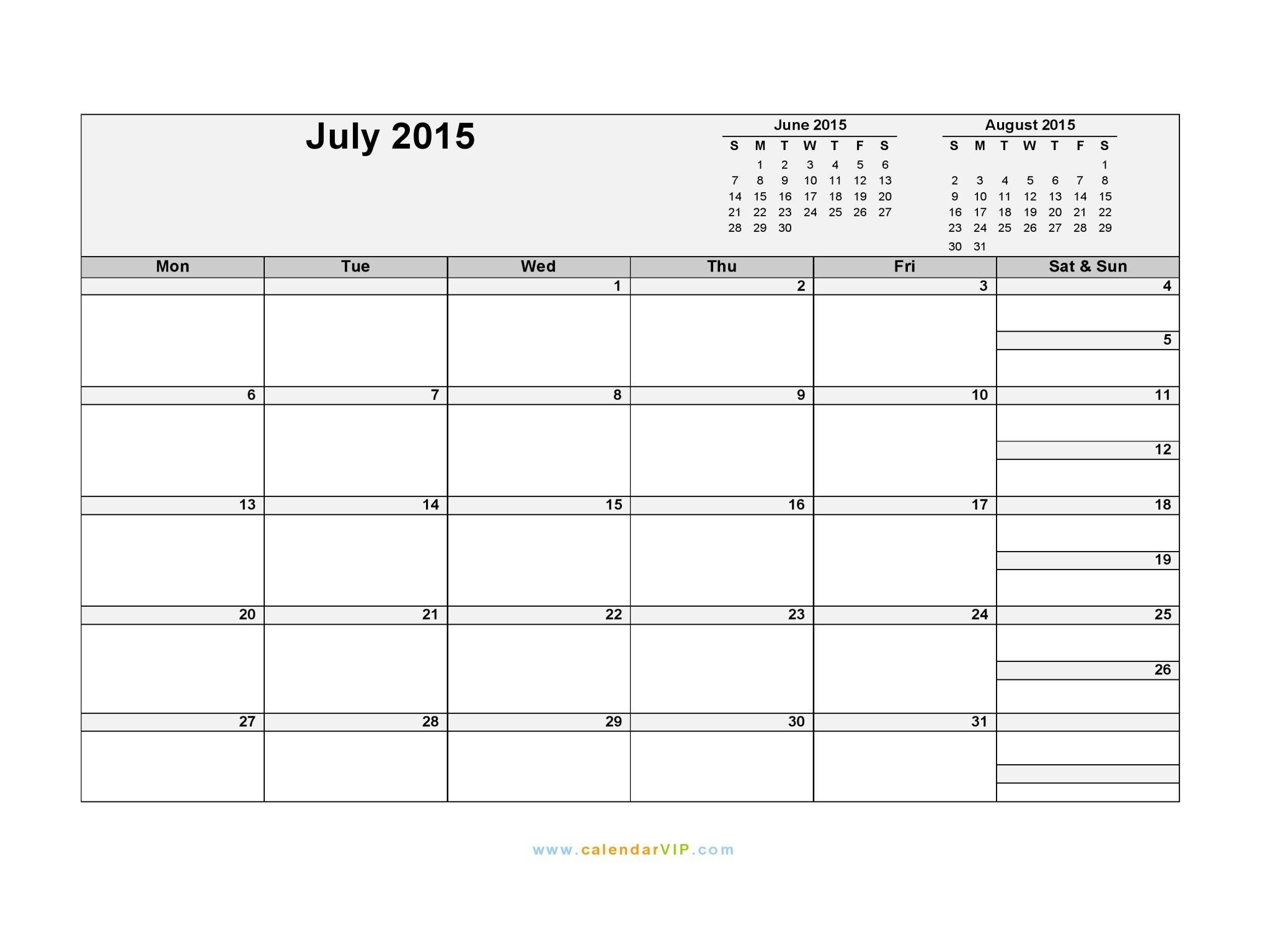 July 2015 Calendar - Blank Printable Calendar Template In