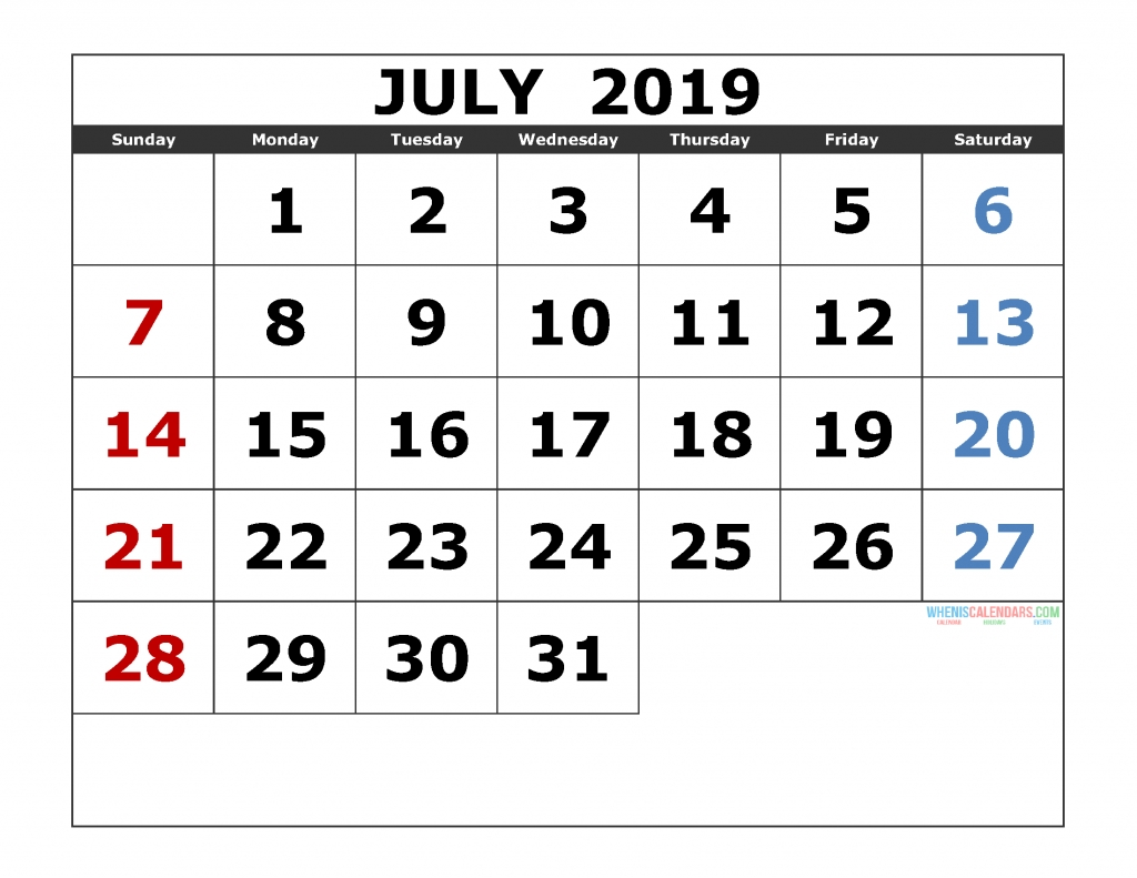 July 2019 Printable Calendar Templates [ 2019 Monthly