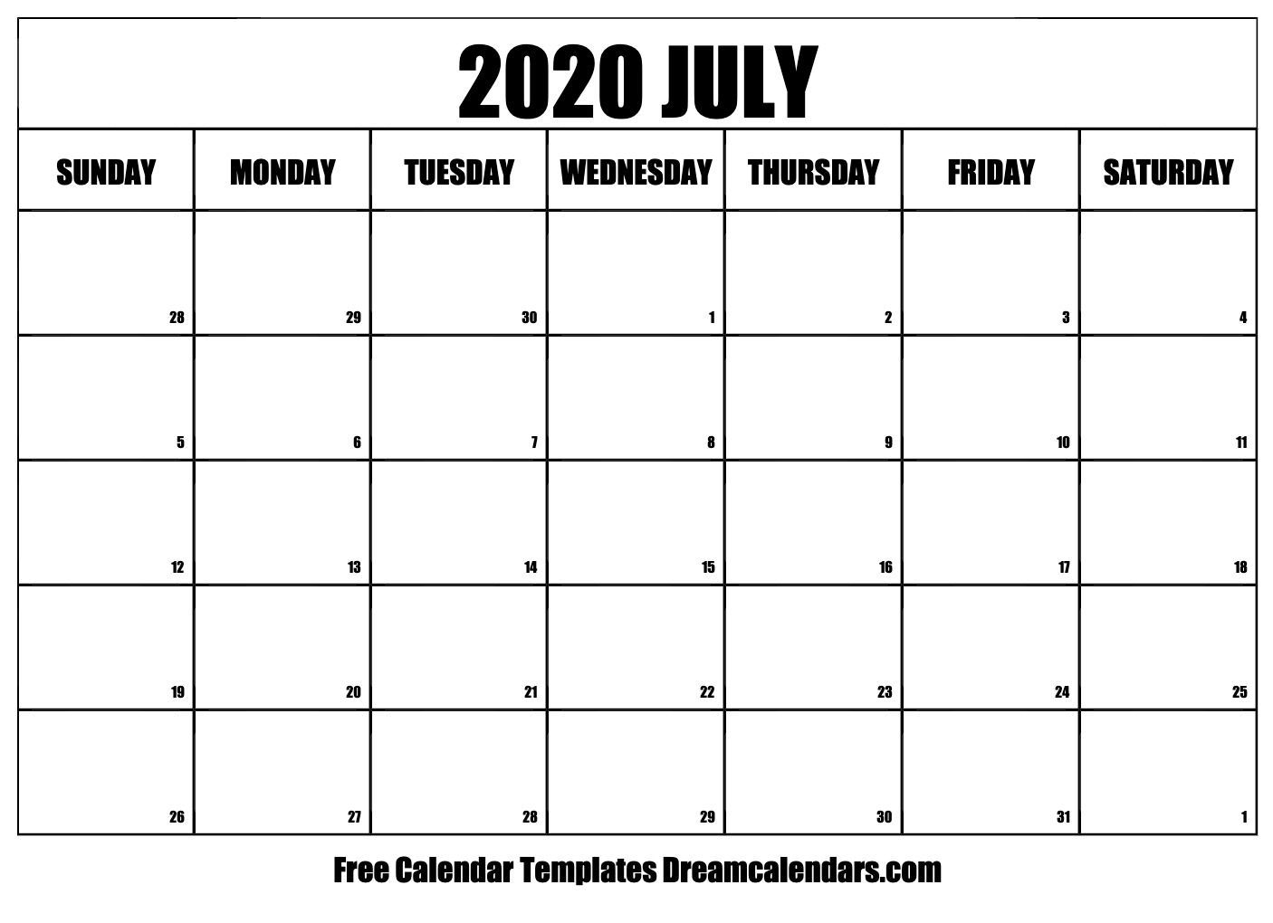 July 2020 Calendar Template Word, Pdf, Excel Format