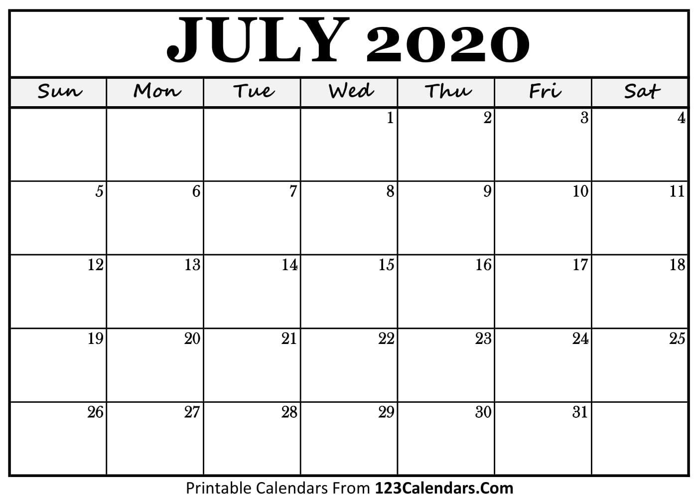 July 2020 Printable Calendar | 123Calendars