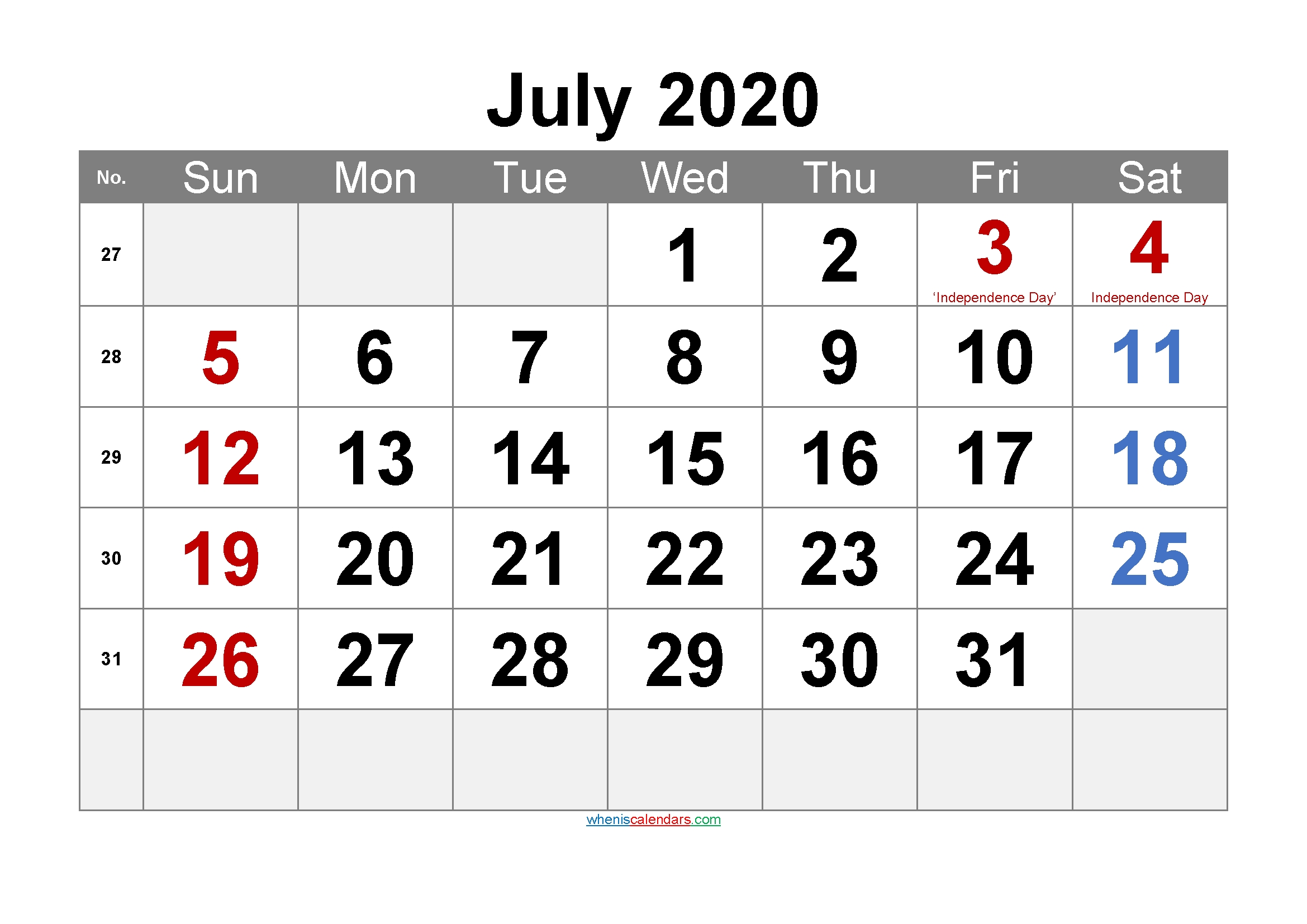 July 2020 Printable Calendar With Holidays - 6 Templates