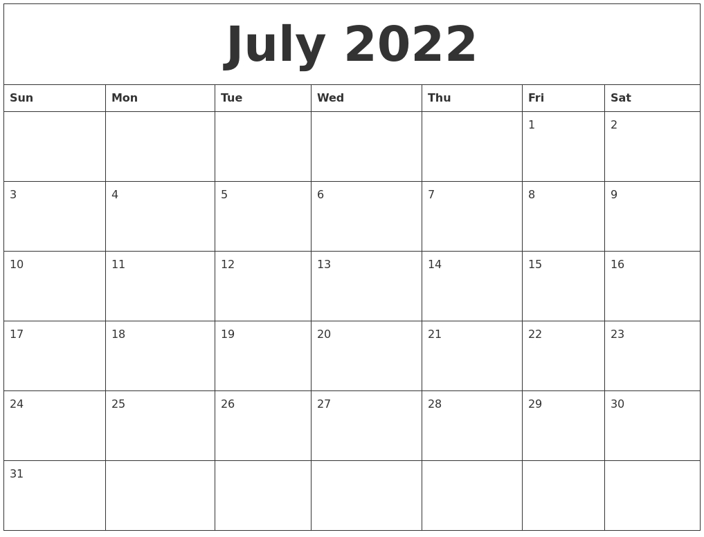 July 2022 Free Online Calendar