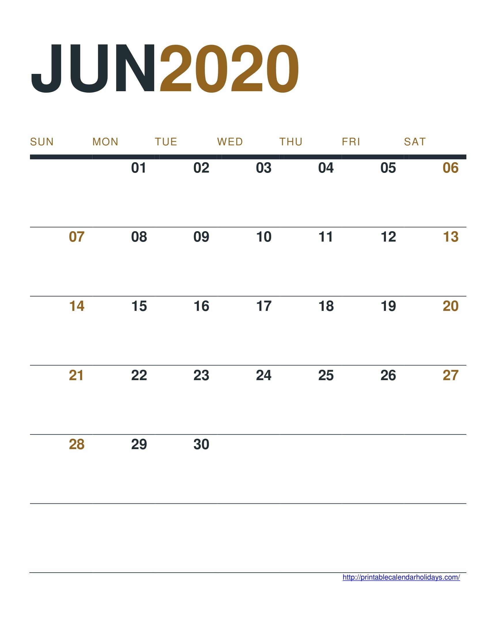 Jun 2020 Calendar Printable Free - Printable Calendar