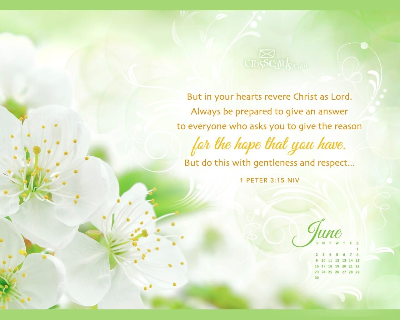 June 2013 - 1 Peter 3:15 Niv Desktop Calendar- Free June