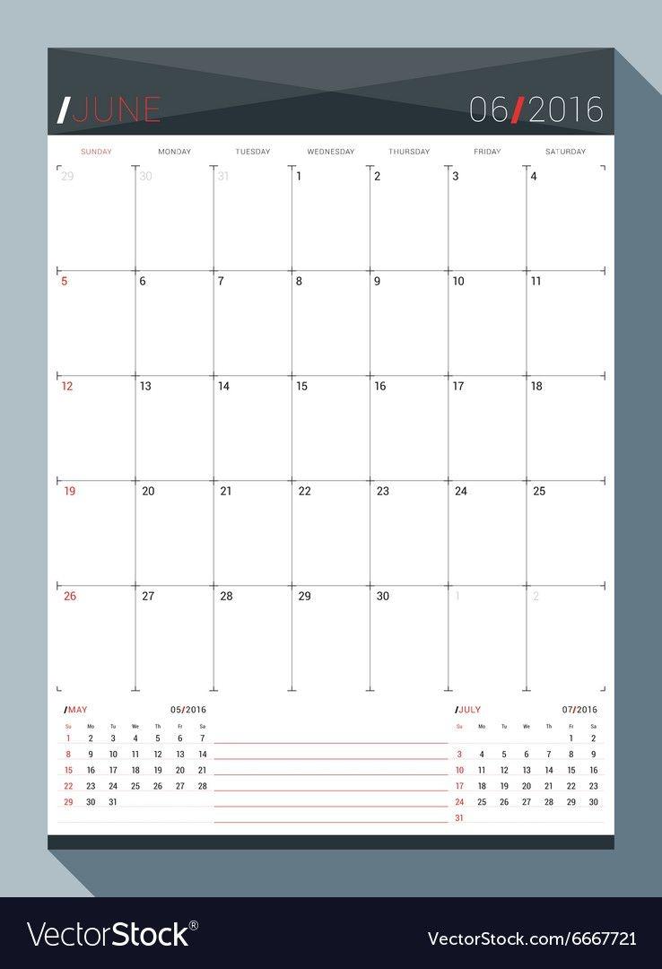 June 2016 Design Print Template Monthly Calendar
