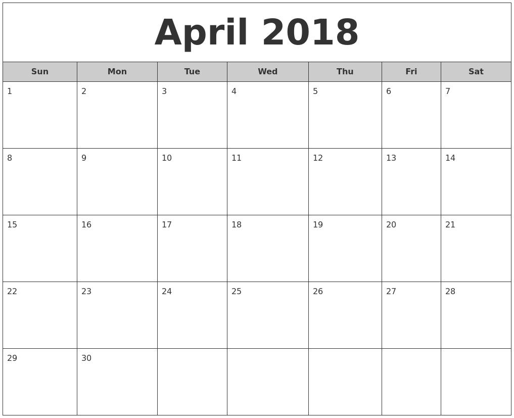 June 2018 Calendar Printable Usa — April Printable Calendar