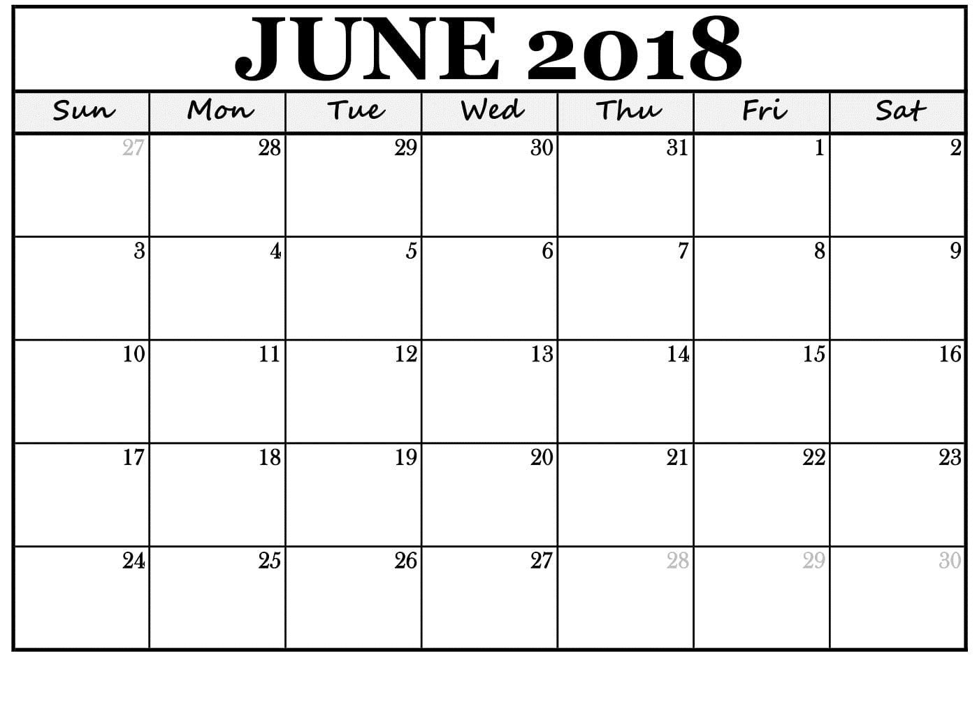 June 2018 Calendar Template | Calendario, Imprimir Sobres