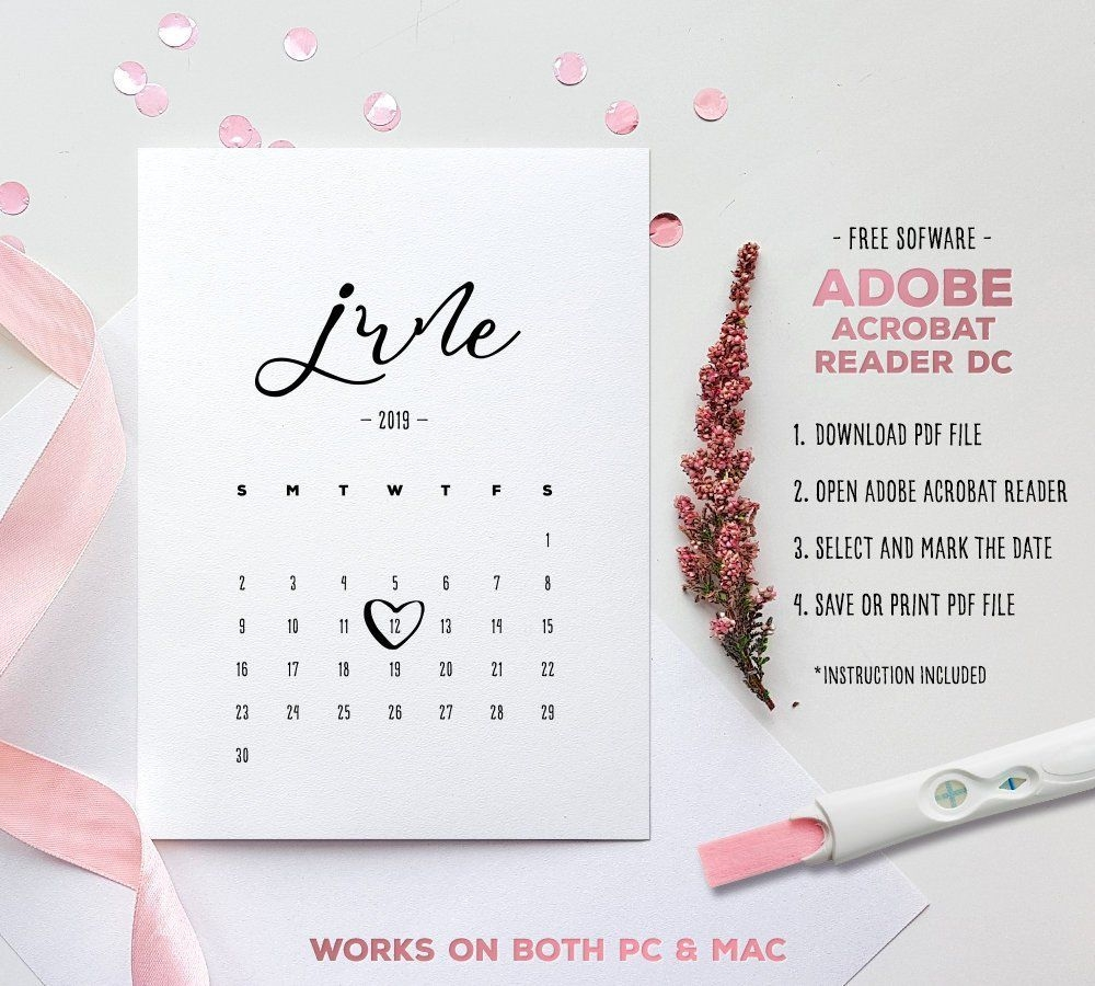 June 2019 Baby Due Date Calendar Template Editable | Etsy