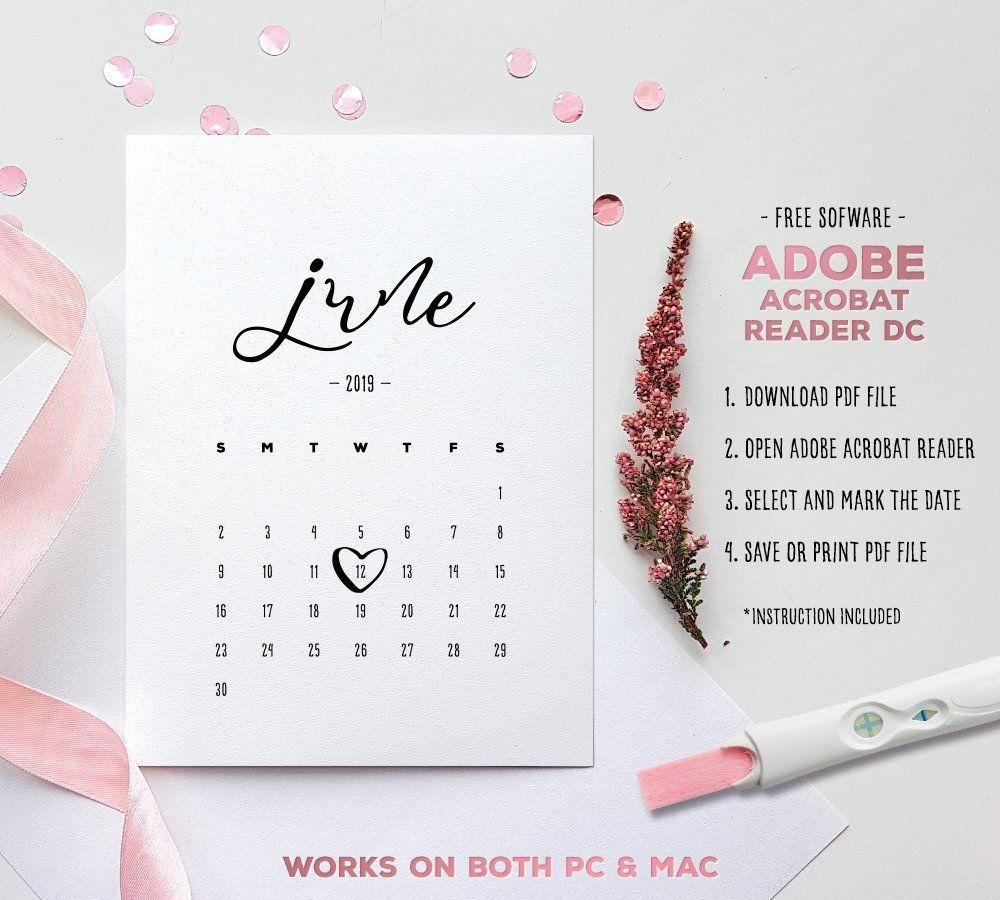 June 2019 Baby Due Date Calendar Template Editable | Etsy