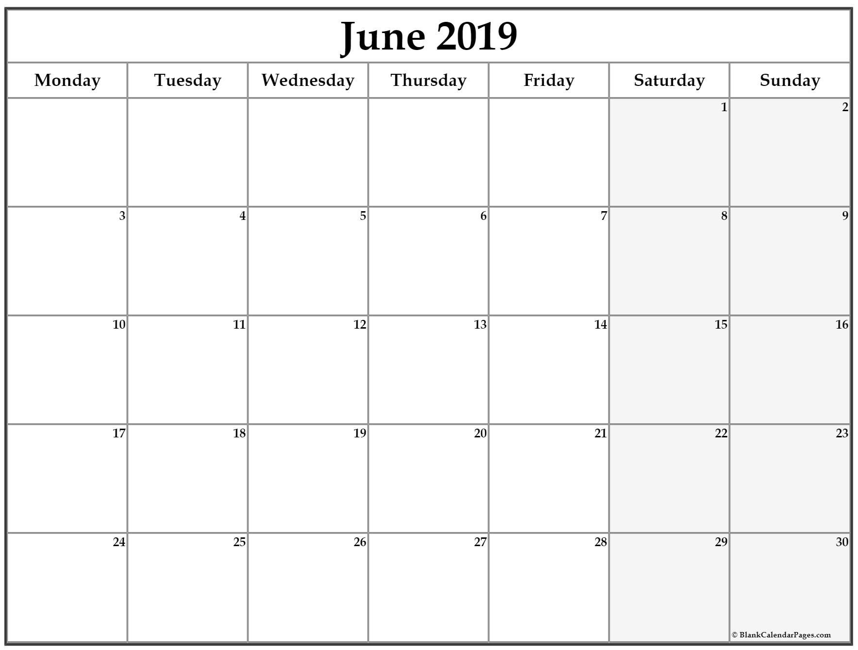June 2019 Monday Calendar. Monday To Sunday (With Images