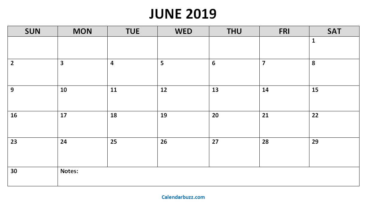 June 2019 Printable Calendar Templates Download | Calendarbuzz