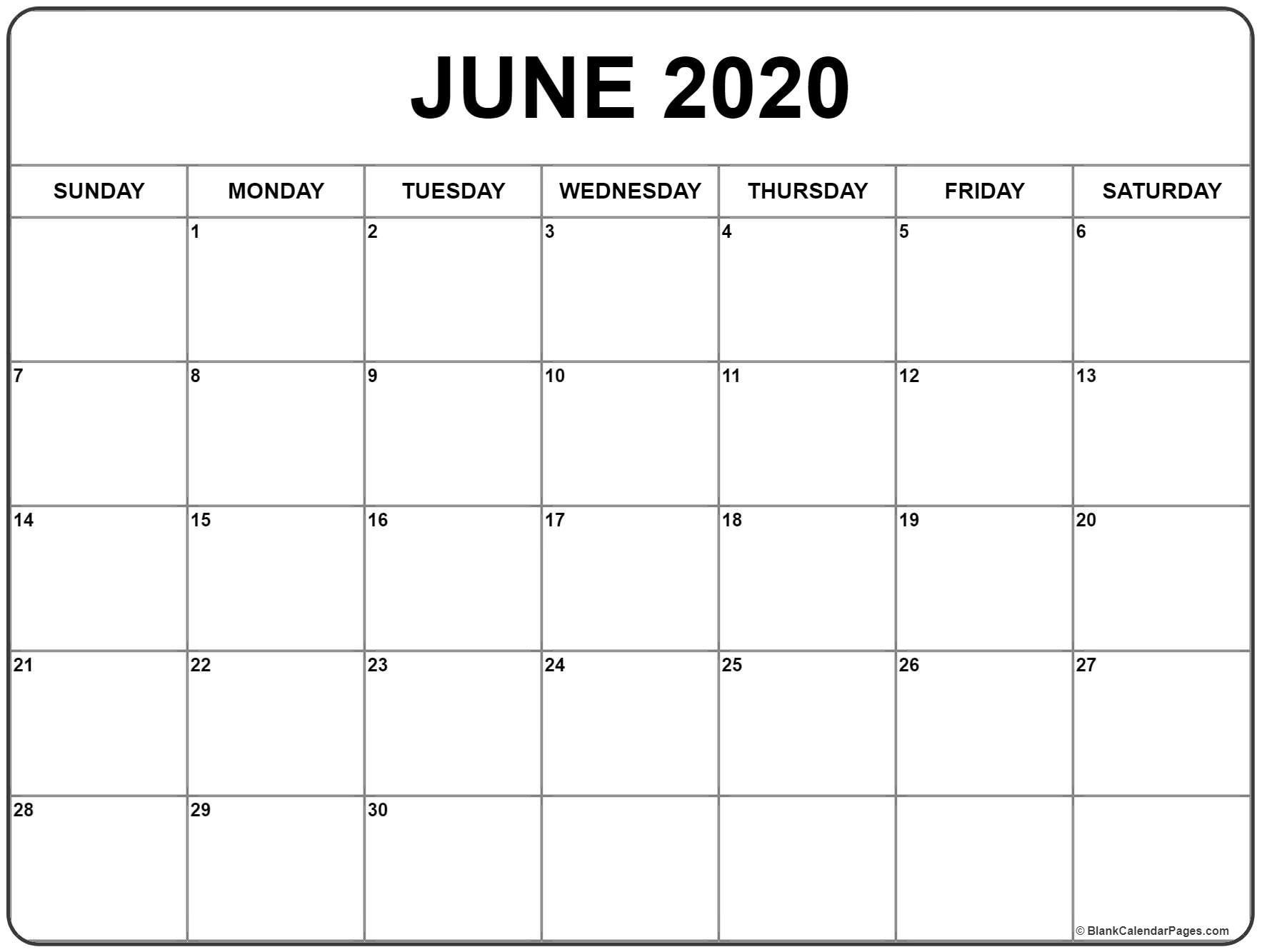 June 2020 Calendar | Free Printable Monthly Calendars