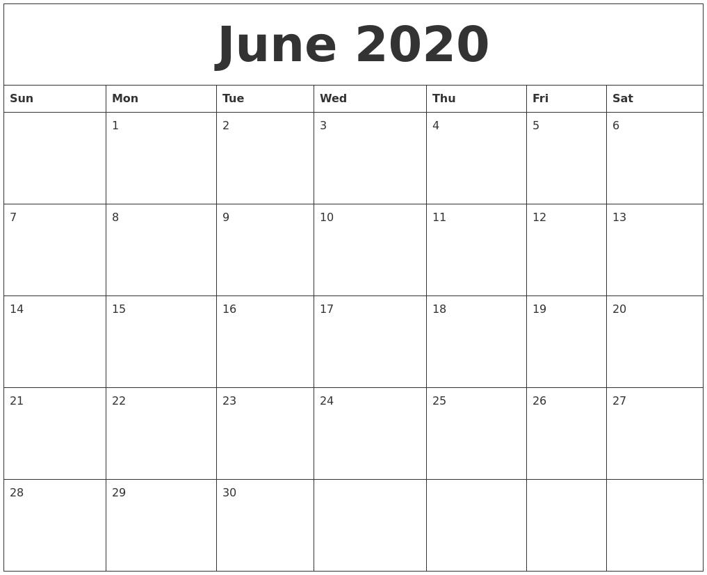 June 2020 Calendar, July 2020 Printable Calendar