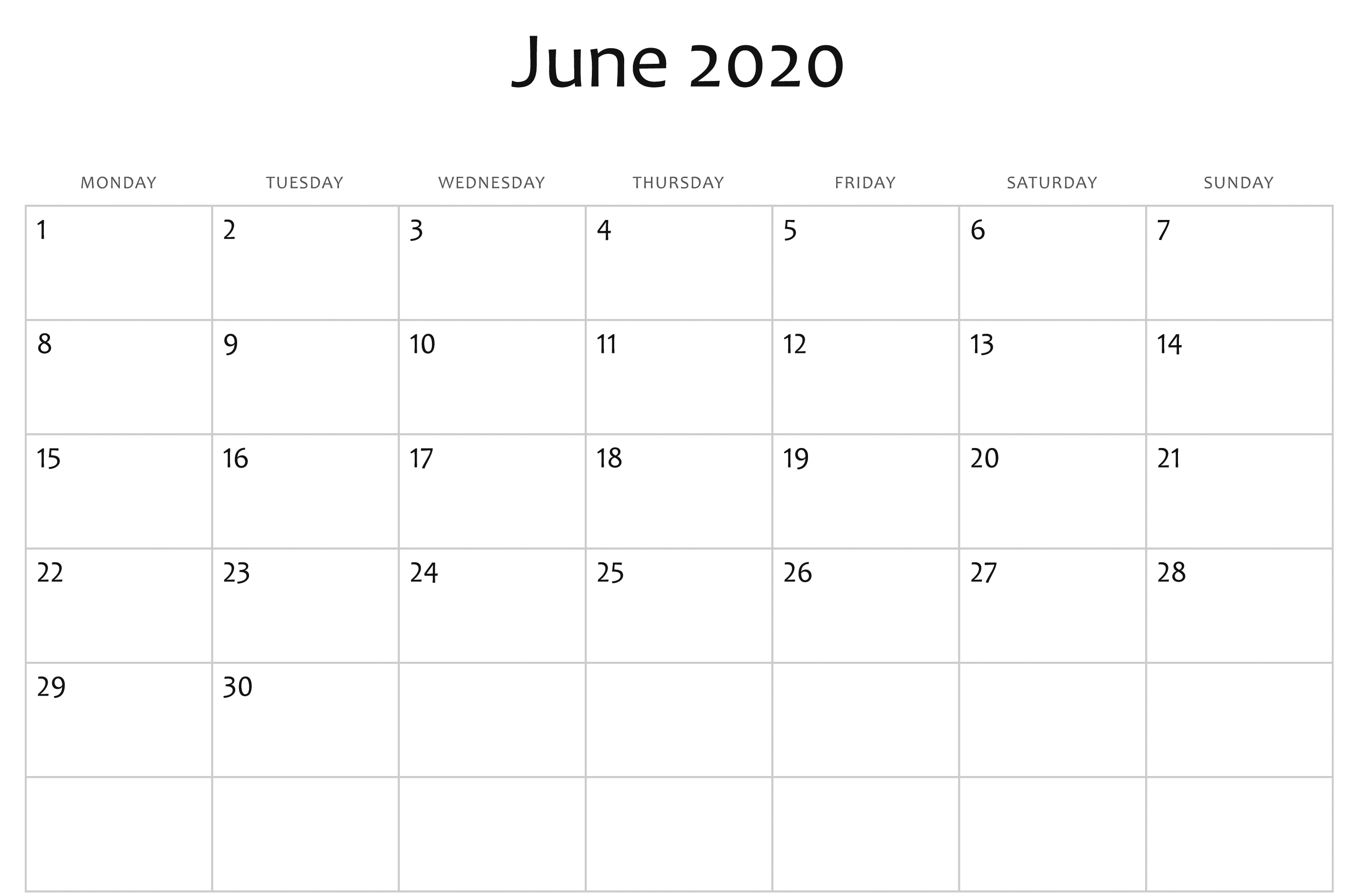 June 2020 Calendar Pdf, Word, Excel Template | Calendar