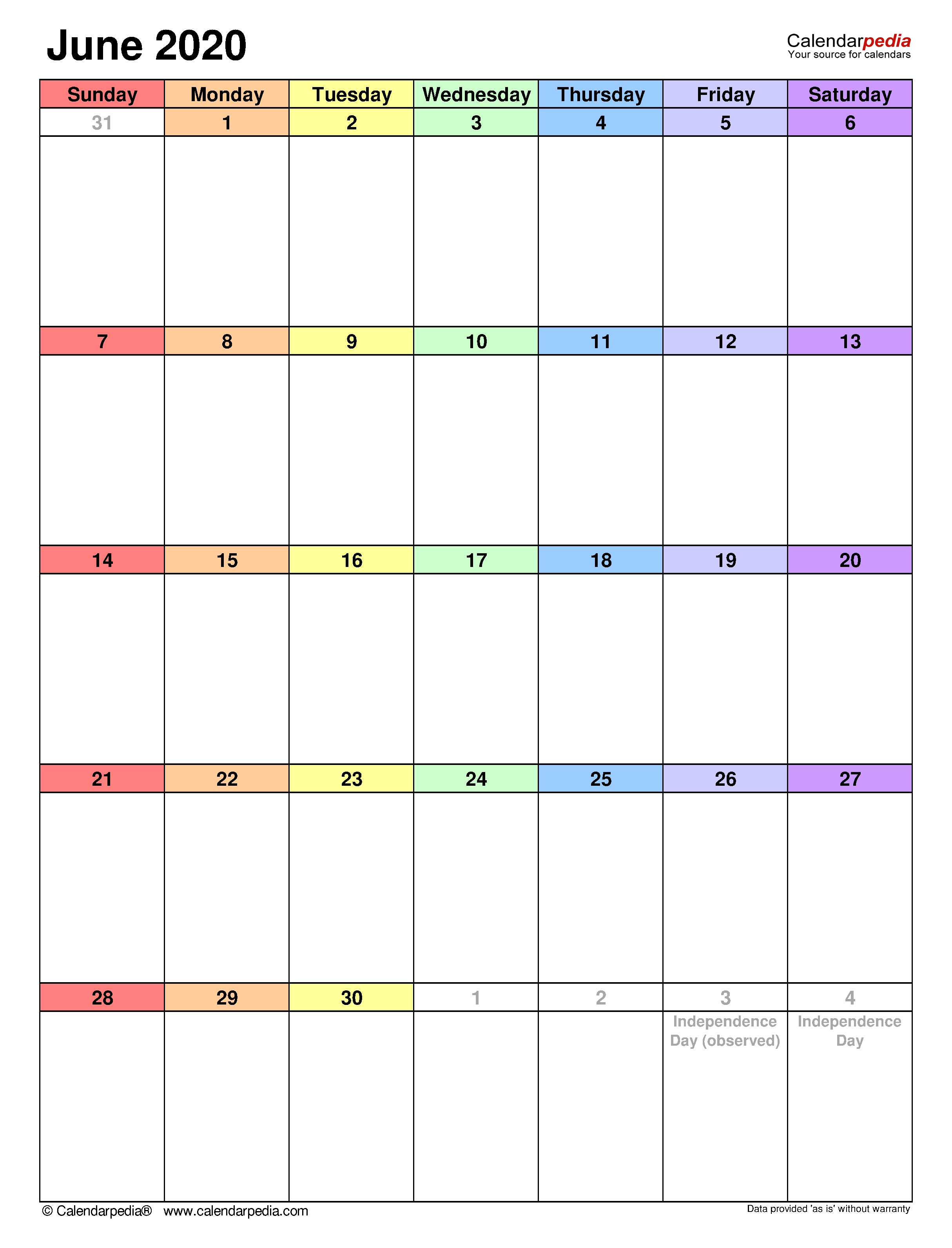 June 2020 - Calendar Templates For Word, Excel And Pdf