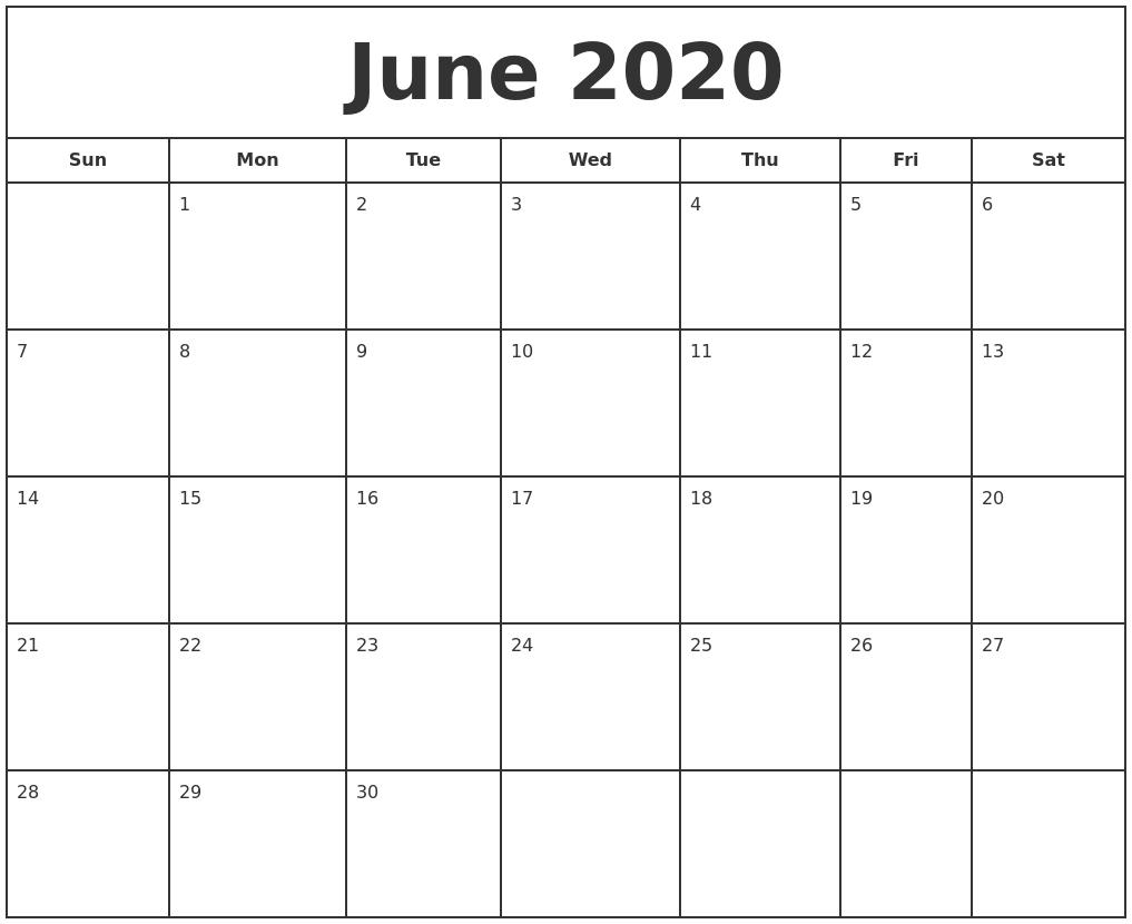 June 2020 Print Free Calendar