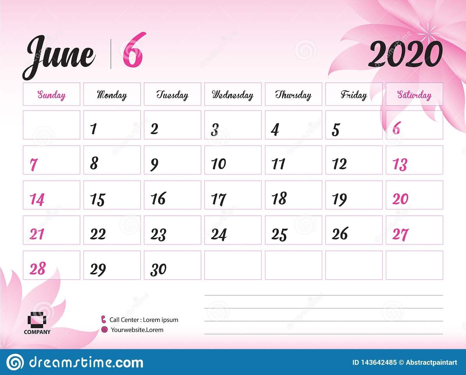 June 2020 Year Template, Calendar 2020 Vector, Desk Calendar