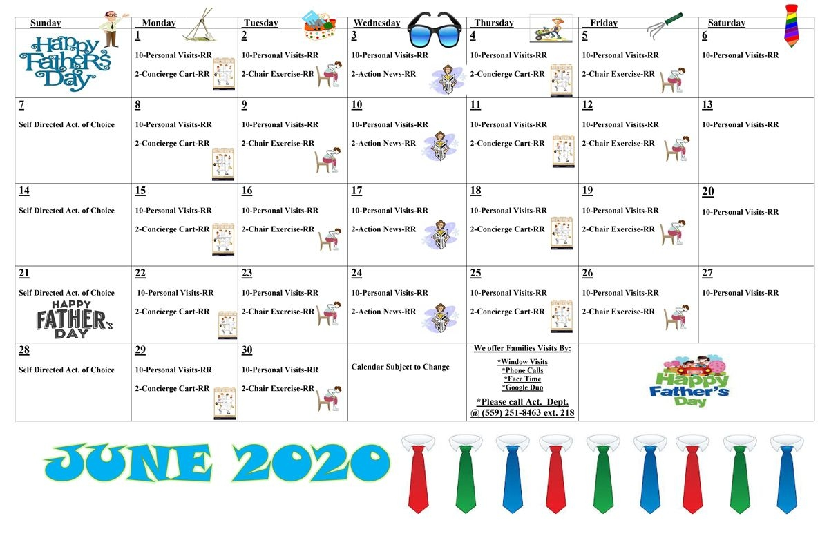 June Activities Calendar - 2020 - Covenant Care