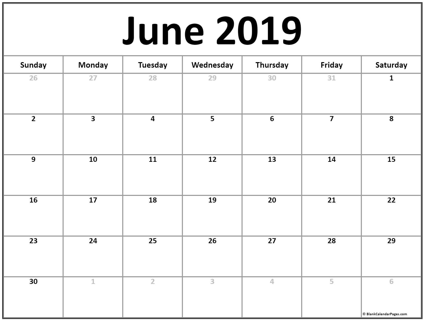 June Calendar 2019 Printable Blank Template With Editable