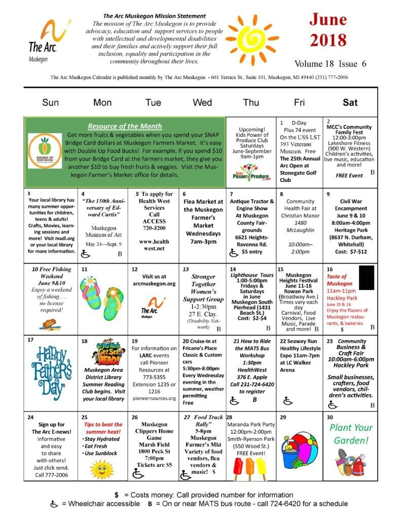 June Community Calendar - The Arc Muskegon