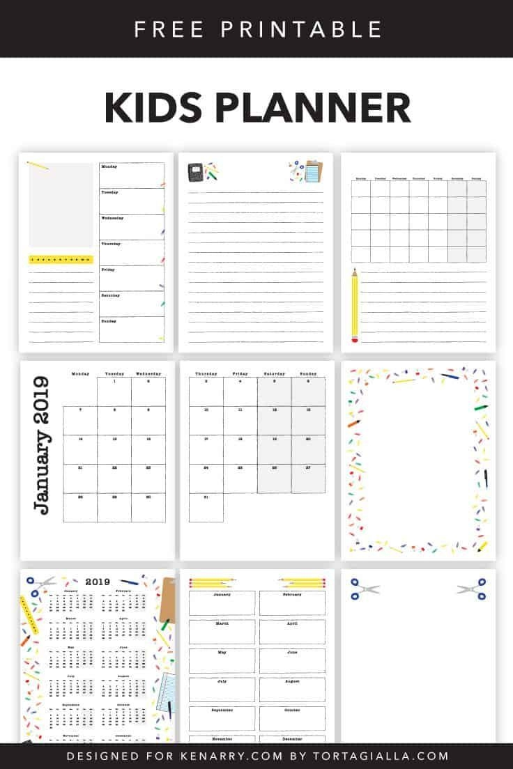 Kids Planner Printables: Free Calendar Pages | Kids Planner