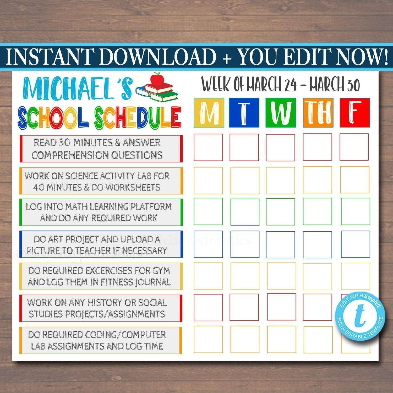 Kids Student Calendar Planner Printable - Editable Template