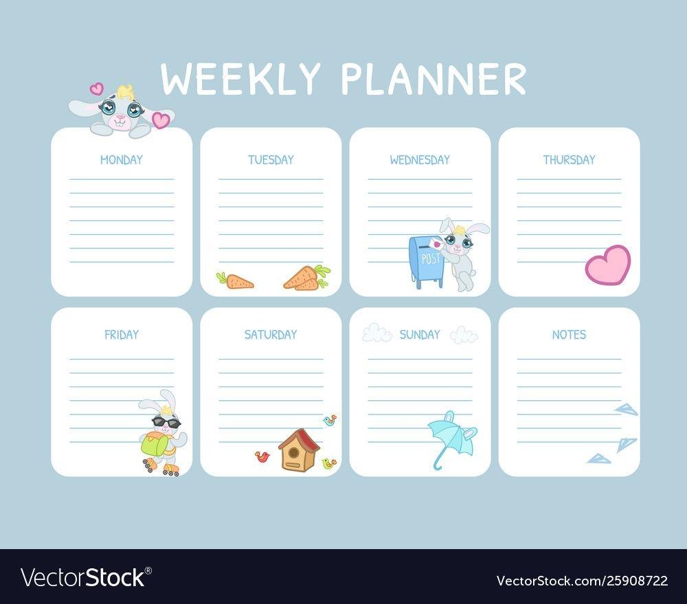 Kids Weekly Planner Calendar Daily Light Blue