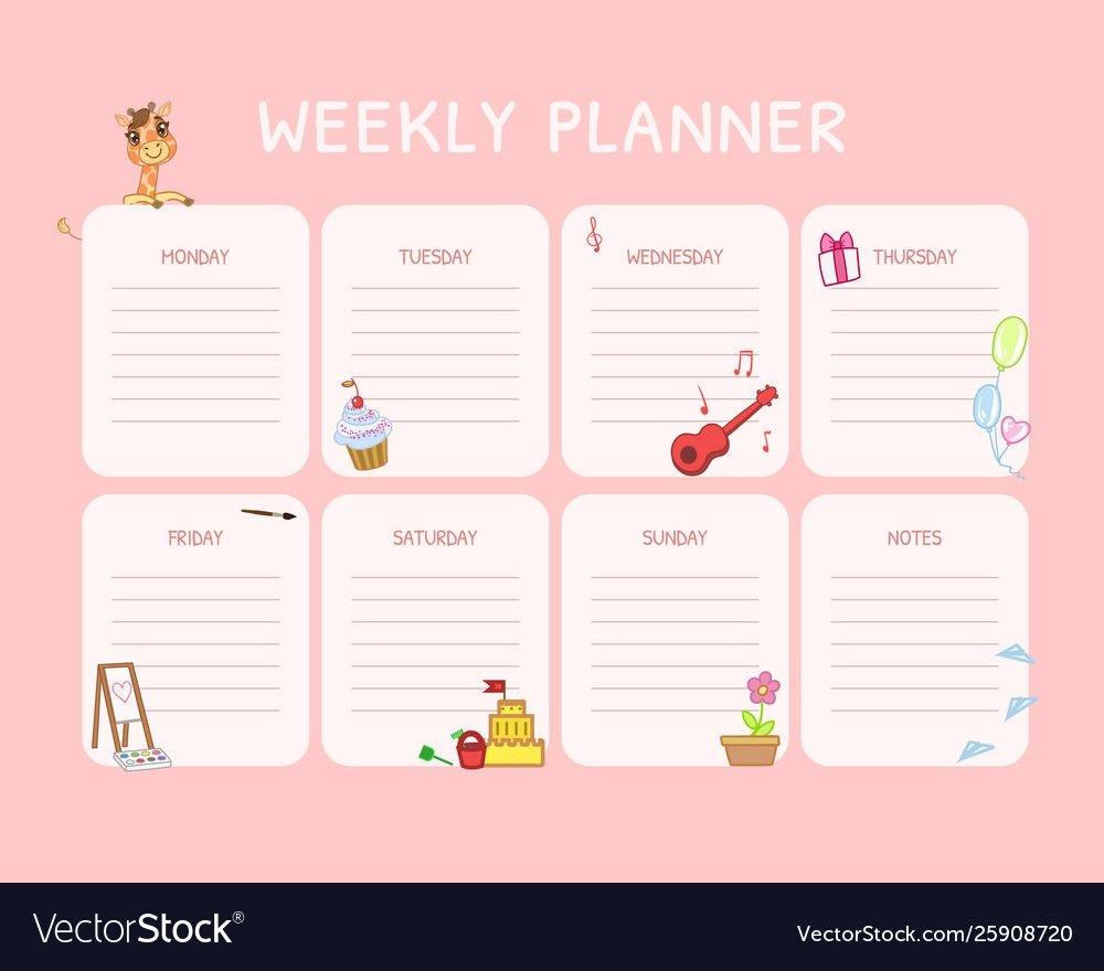 Kids Weekly Planner Calendar Daily Pink Template