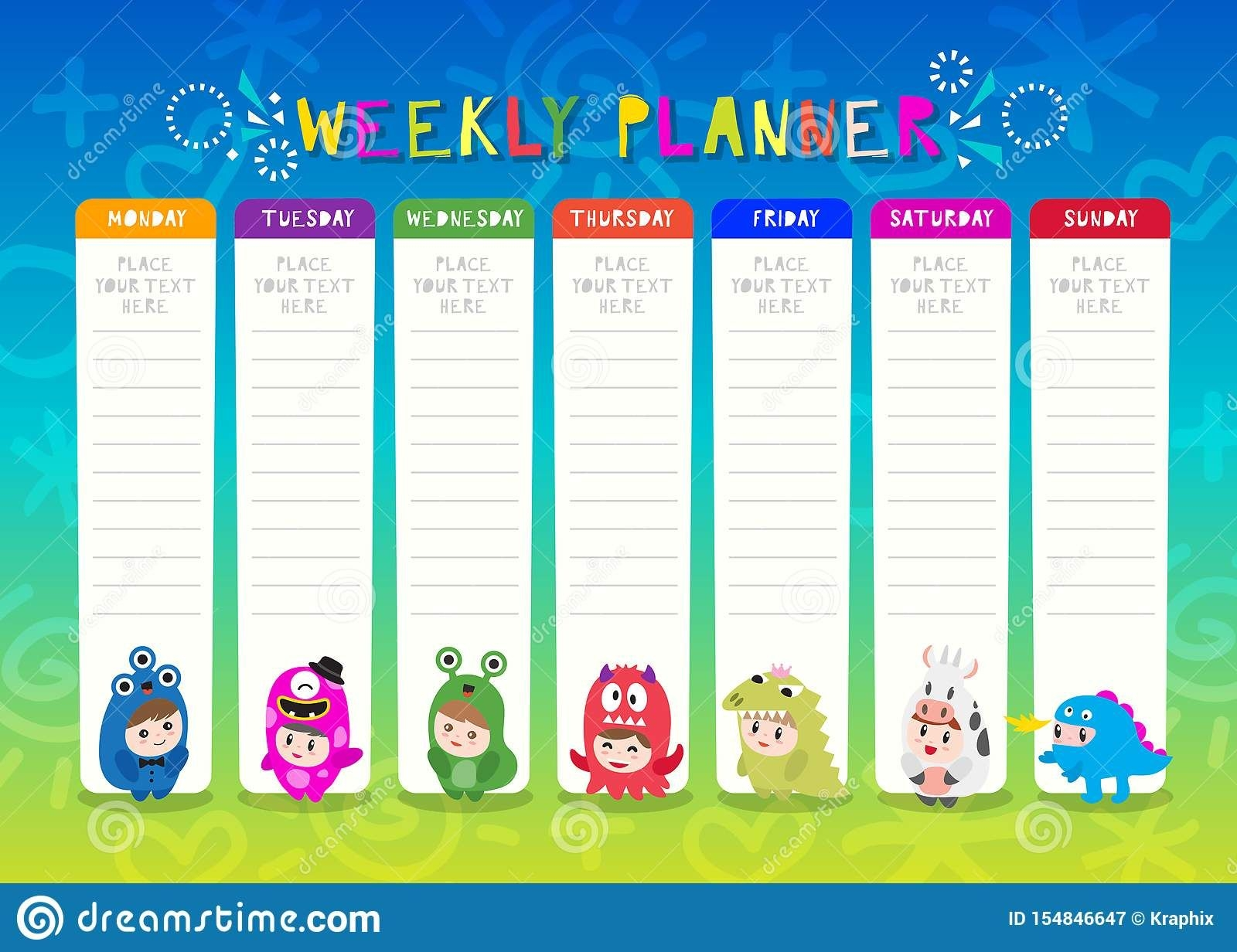 Kids Weekly Planner With Cute Monster Cartoon Characters. A