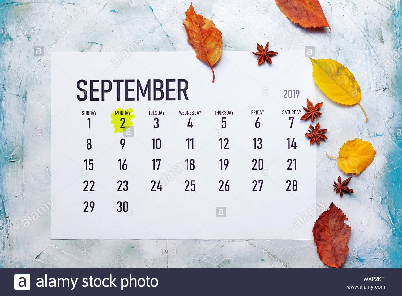 Labour Or Labor Day 2019. 2Nd September 2019 Highlighted On