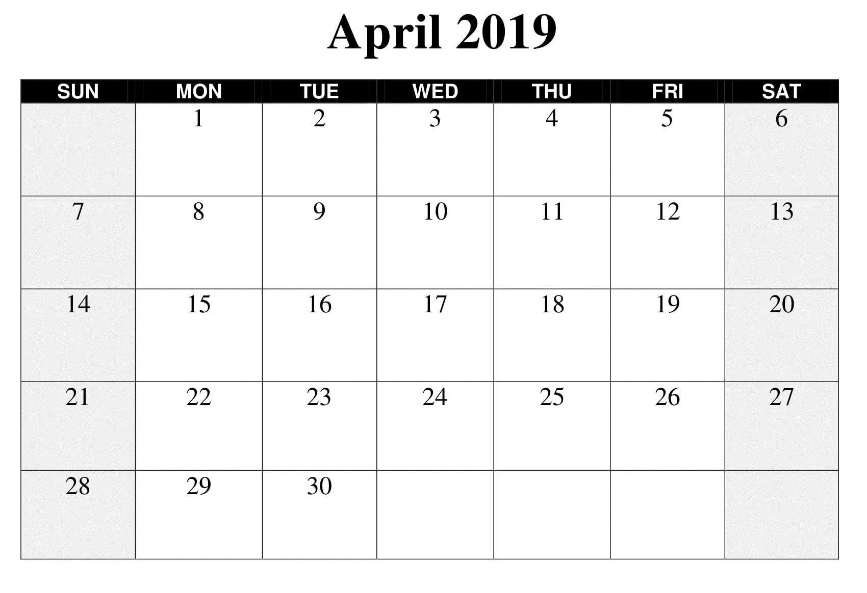 Large April 2019 Calendar Template | Calendar Template