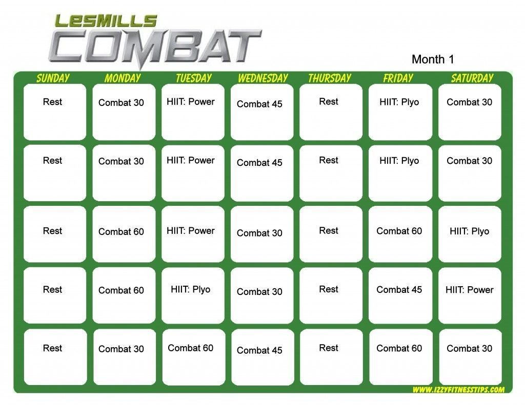 Les Mills Combat Month 1 | Hip Hop Abs, Workout Calendar