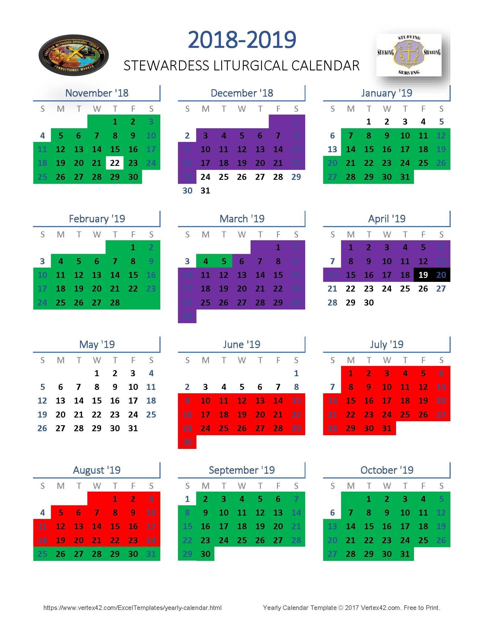 Liturgical Calendar 2020