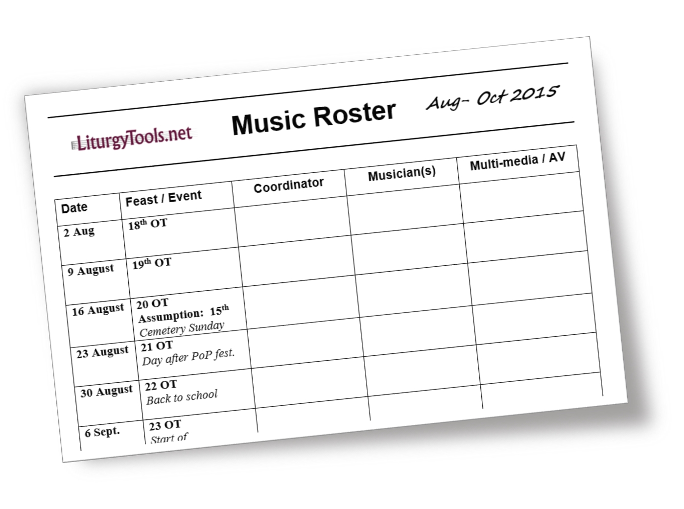 Liturgytools: Blank Template For A Church Music Roster