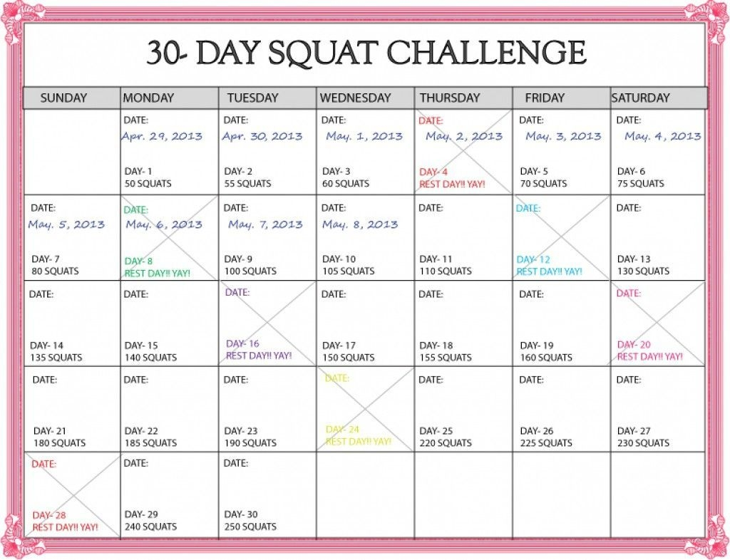 Lovely 30 Day Squat Challenge Printable Calendar (Dengan Gambar)
