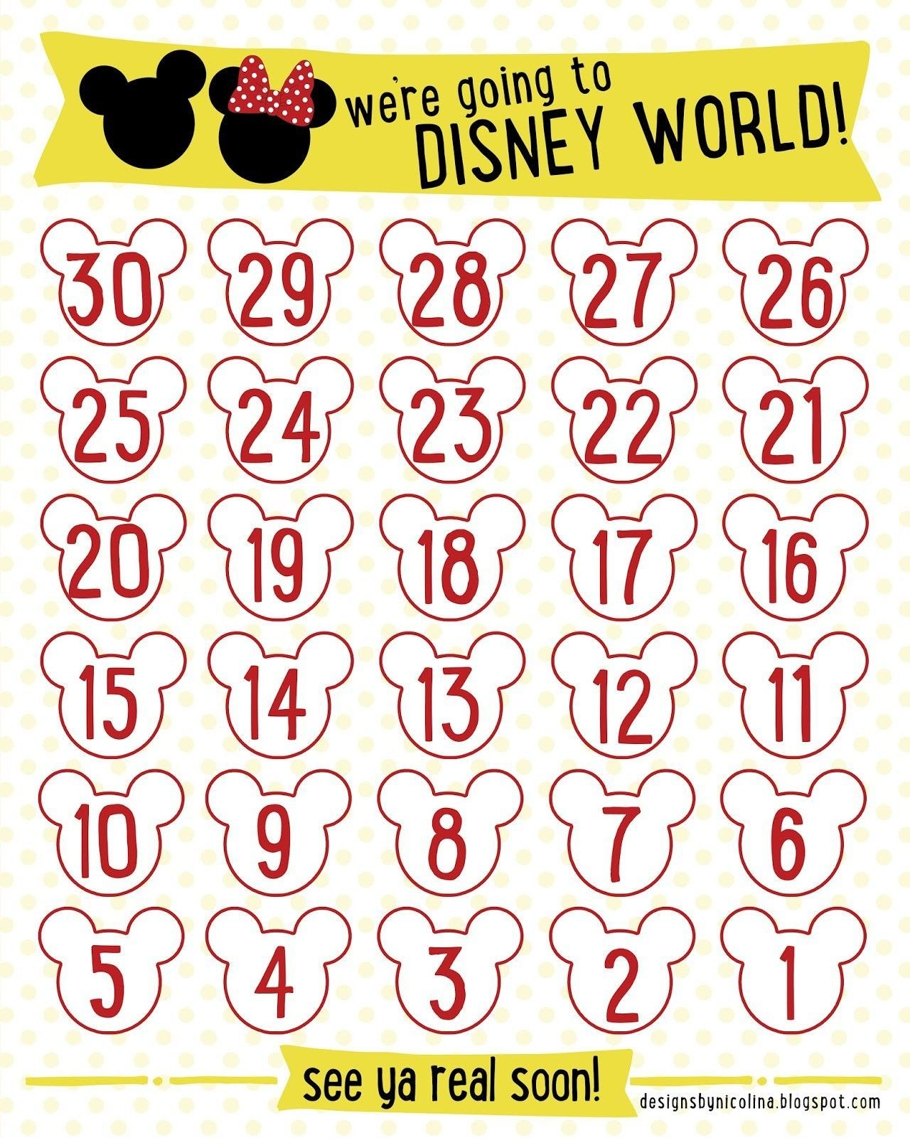 Lovely Disney Countdown Calendar Printable (With Images