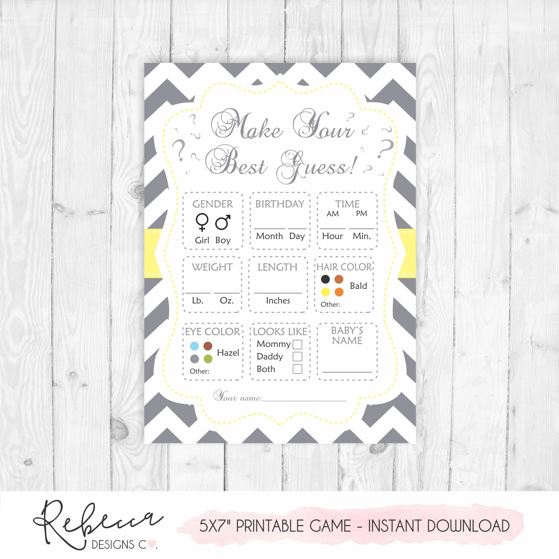 Make Your Best Guess Printable Game • Instant Download