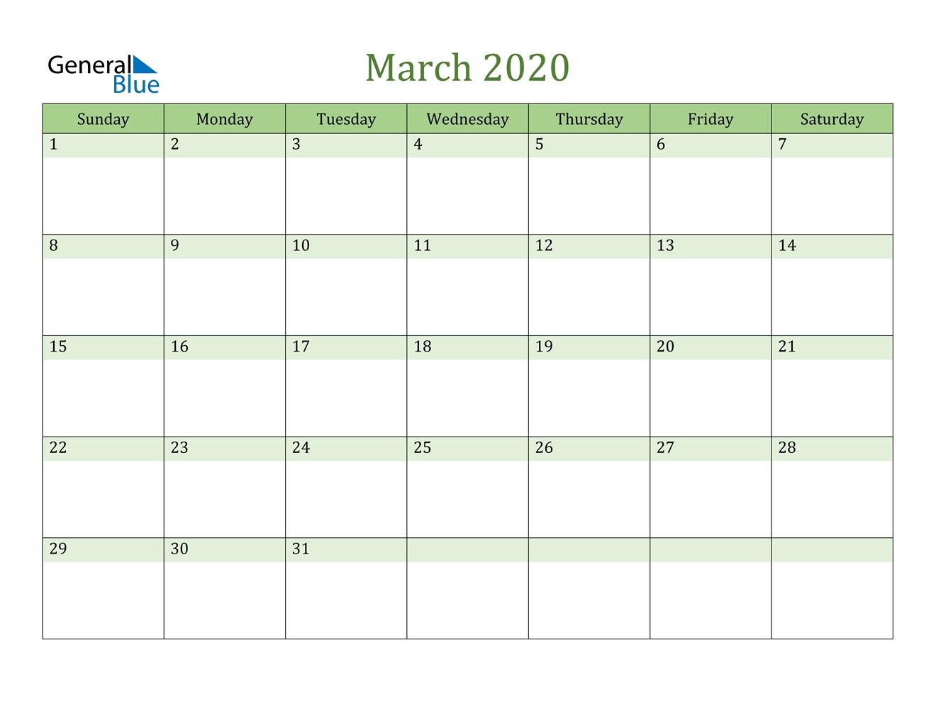 March 2020 Calendar - Pdf Word Excel