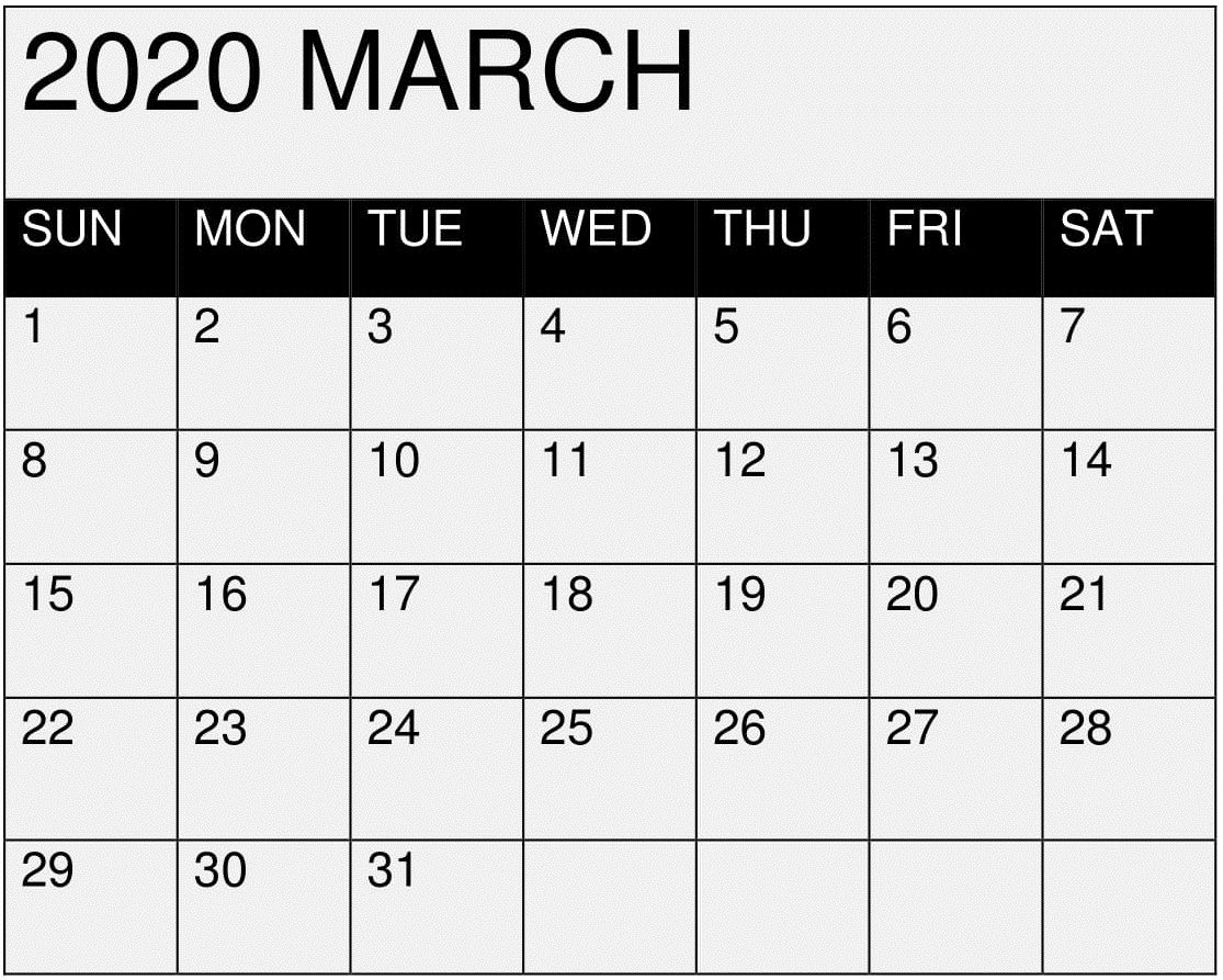 March 2020 Calendar Printable Editable By Month - Latest
