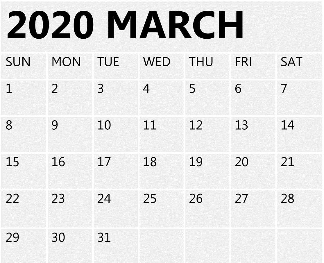 March 2020 Calendar Printable Free Blank Template - Free