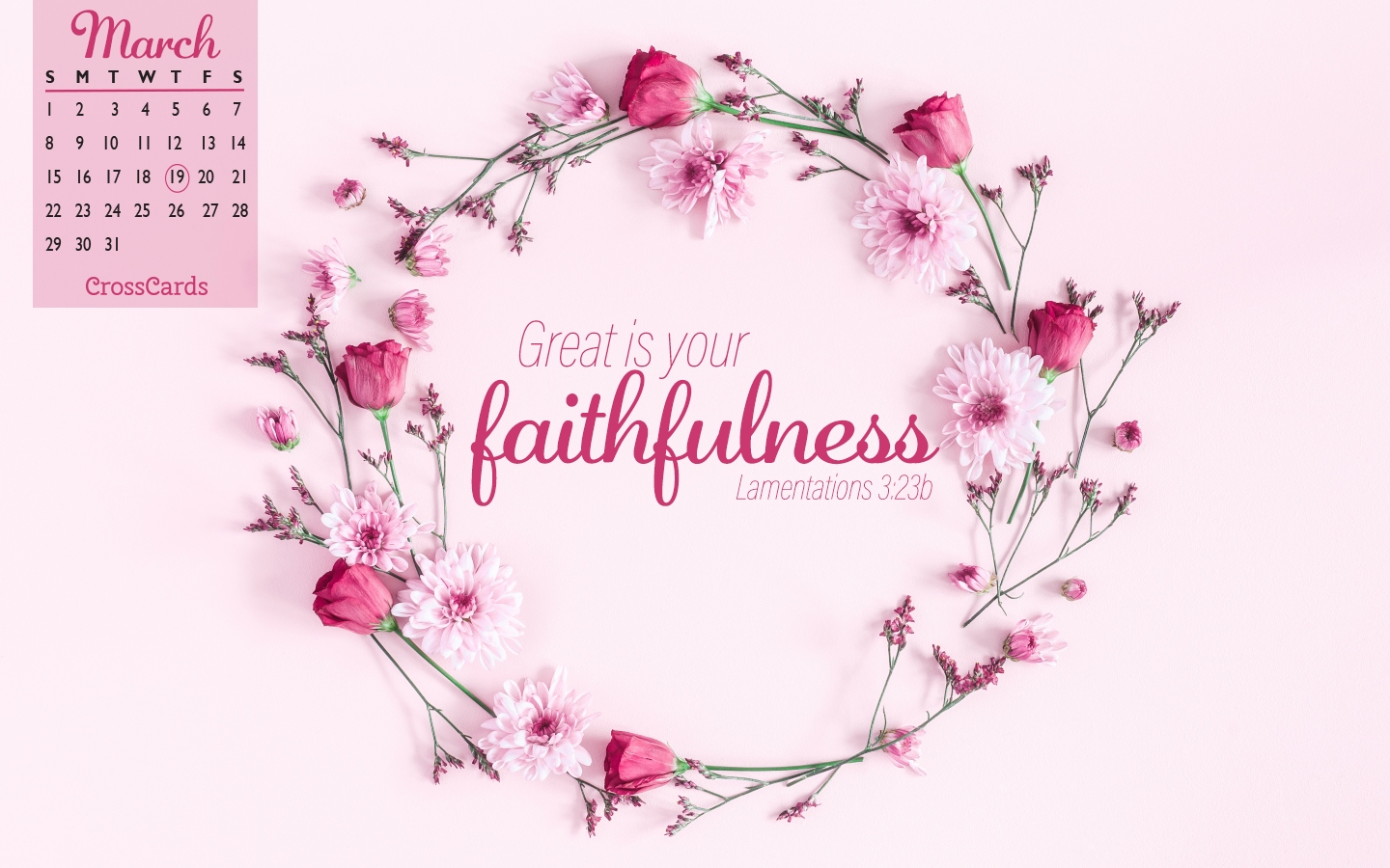 March 2020 - Faithfulness Desktop Calendar- Free March Wallpaper