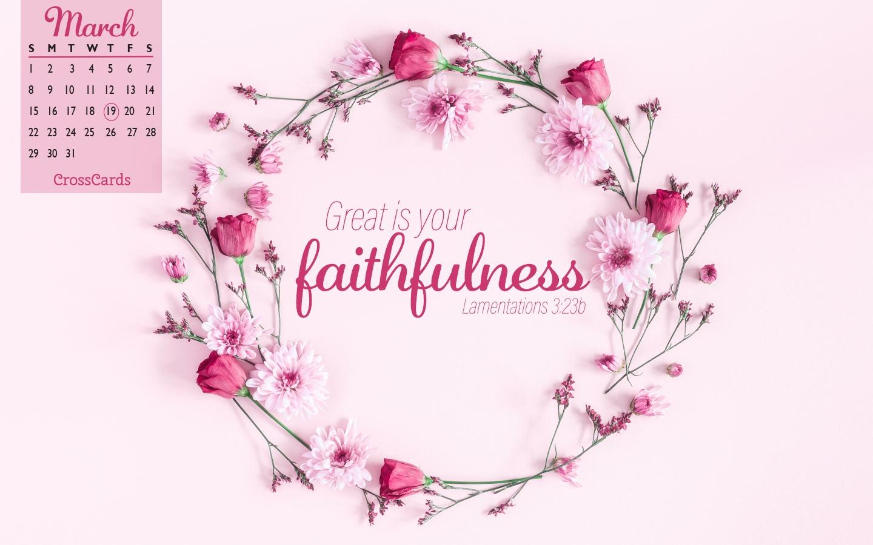 March 2020 - Faithfulness Desktop Calendar- Free March Wallpaper